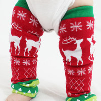 Christmas Baby Leg Warmers Tacky, Ugly Christmas Sweater with Reindeer, Snowflakes and Hearts