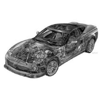 Corvette Zr1 Cutaway poster Metal Sign Wall Art 8in x 12in Black and White