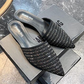 Alexander Wang Fashion Women Leather Diamond Pointed Half Slippers Mules Shoes