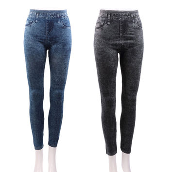 Women Stretch Denim Jean Look Skinny Leggings Slim Jeggings Pants Sport Academies American Apparel Faux Denim Pencil Pants