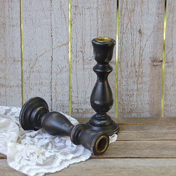 Candlesticks, Shabby Chic, Black, Wood, Hand Painted, Candle Holders, Distressed, Taper Candle Holders