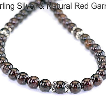 PN-002 Natural Grade A Red Garnet Sterling Silver Choker Women Necklace.