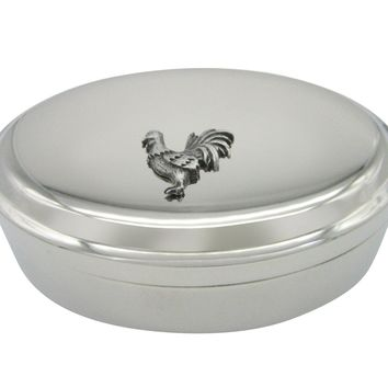 Silver Toned Textured Rooster Chicken Bird Pendant Oval Trinket Jewelry Box