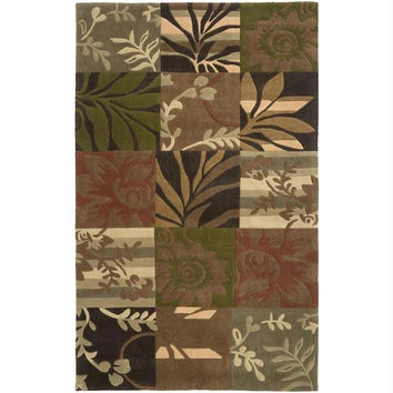 Area Throw Rug - Golden Brown, Dark Brown, Peanut Butter, Burnt Sienna, Dark Olive Green, Cumin And Sepia