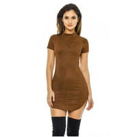 2017 Summer Short Sleeve Slim Party Mini Dress Casual Ladies Vestido Vintage Women Brown Tight Faux Suede Bodycon Dresses