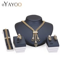 Jewelry Sets For Women Party Accessories Tassel Pendant Statement Beads Imitation Crystal Necklace Earrings Bracelet Rings set