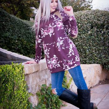 Wine Floral Tunic Top with Elbow Patches