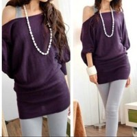 Open Shoulder Top Purple
