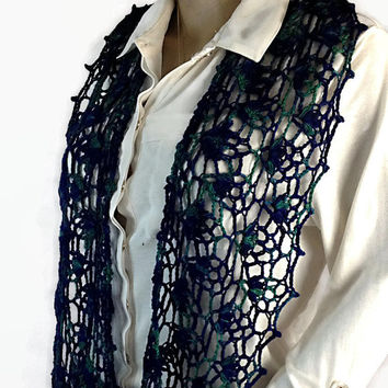 Outlander Blue Green Lace Scarf  Claire Scottish Gift under 50 Crocheted Neckwarmer Diana Gabaldon FREE SHIPPING