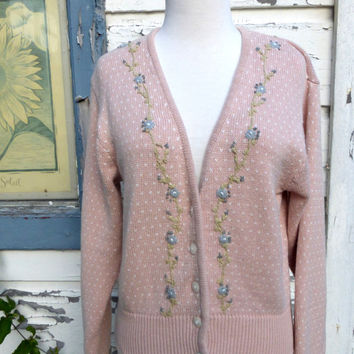 1980's Liz Claiborne Floral Embroidered Pink Sweater Cardigan