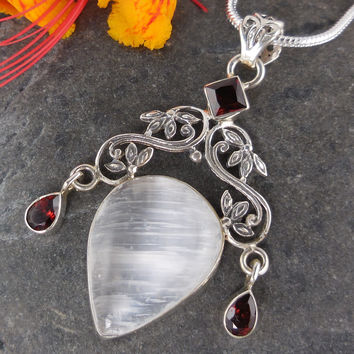 Selenite & Garnet Sterling Silver Pendant/Necklace