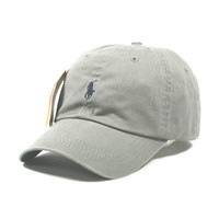 SP77 Polo Light Gray Cap with Fine Embroidery Small  Dark Blue Logo Hat Baseball