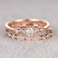 5mm Round Moissanite Wedding Set Diamond Bridal Ring 14k Rose Gold Marquise Matching Band
