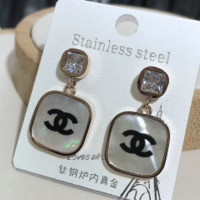Chanel rose gold classic round earrings with long earrings