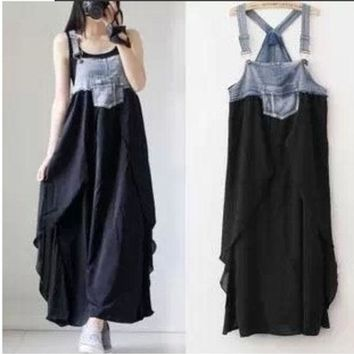 LMFUG3 Maternity long dress summer denim chiffon patchwork casual full dresses plus size clothes for pregnant women vest suspender@JHY (Color: Black) = 1955668676