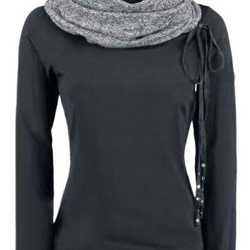Turtle Neck Long Sleeve Spliced Sweatshirt