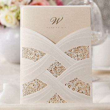 Vertical Laser Cut Wedding Invitation with White Hollow Flora,Customizable, 50 Pcs/Lot,CW060