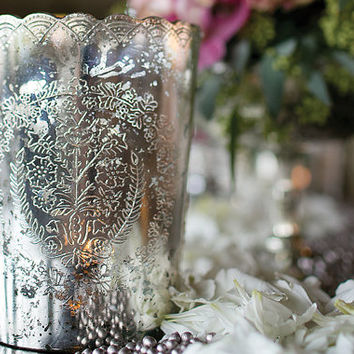 Mercury Glass LARGE Votive Candle Holder Lace With Scalloped Edge Perfect for Weddings Set of 12 Tea Light Holders