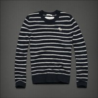Abercrombie  Fitch AF Sawteeth Mountain men's sweater-NAVY STRIPE-MEDIUM