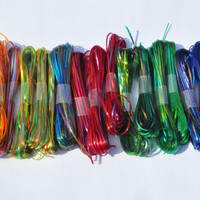Vintage Plastic Crafting Gimp. 16 Loops of Rainbow Craft Lace. Lot of Shiny Lanyard Lace.