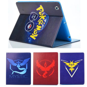 For ipad Air Ipad 5 Mobile Game Pokemons Go Case PU Leather Case Cover with Auto Sleep/Wake Function Squirtle