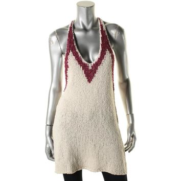 Free People Womens Knit Colorblock Tank Top Sweater