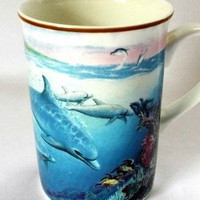 Sea World Coffee Mug Porpoise Dolphin Collectors Series Fine Bone China Blue Cup