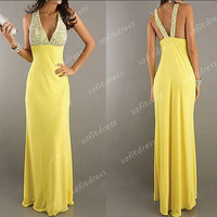 sexy prom dresses, halter prom dresses, yellow prom dresses, cheap prom dresses, yellow bridesmaid dresses, evening dresses, BE0353