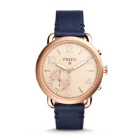 Q Tailor Hybrid Dark Navy Leather Smartwatch - $195.00