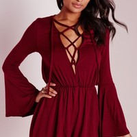 Missguided - Bell Sleeve Tie Front Playsuit Burgundy