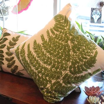 Embroidered Fern Cotton Pillow