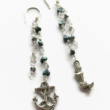 Nautical Dangle Earrings Mermaid Earrings Anchor Earrings Long Peacock Pearl Dangle Earrings Black Pearl Earrings Cluster Earrings (E291)