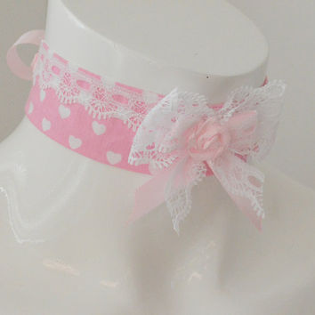 Candy heart - pink kawaii cute neko lolita kitten pet play ddlg little princess day collar - pink and white