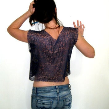 Fabric and Lace Crop Top, Crop Shirt, Sheer Back Top, Upcycled Top, Festival Top,  Surfer Top, Beach Top, Sunflower Print Top, Box Crop Top