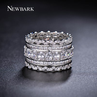 NEWBARK Luxury Wide Circle Women Rings With Oval AAA Cubic Zirconia And Fashion Small Round CZ Diamond Ring Jewelry