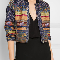 Etro - Reversible paneled embroidered cotton and silk-blend bomber jacket
