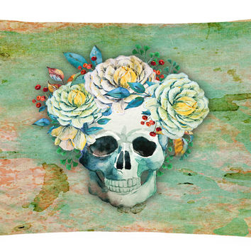 Day of the Dead Skull with Flowers Canvas Fabric Decorative Pillow BB5124PW1216
