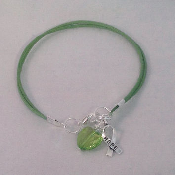 Green Lime Awareness Cotton Bracelet -Cerebral Palsy-Bipolar-Muscular Dystrophy-Missing Children - Tourette - Kidney Cancer
