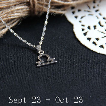 Sterling silver Libra Necklace, Zodiac Necklace, Petite Necklace, Simple Necklace, Everyday Necklace, Tiny Necklace, Dainty Jewelry