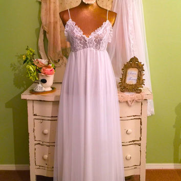 Dreamy Chiffon Nightie Set, Long White Nightgown & Robe, M, Romantic Vintage Lingerie, Wedding Bridal, Elegant Nightdress Set, Gift For Her