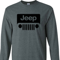 Jeep Wrangler Logo on a Dark Heather Long Sleeve Shirt