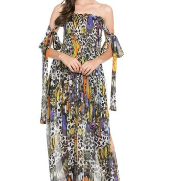 Jenna Strapless Butterfly Maxi Dress