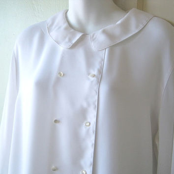 Silky White Peter Pan Collar Blouse - Largeish Medium White Shirt - Double Breasted Office/Career/Work/Date/Occasion Blouse - Drapy Blouse