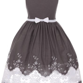 Girls Grey Cotton Dress with Sheer Lacy Embroidery 2T-10