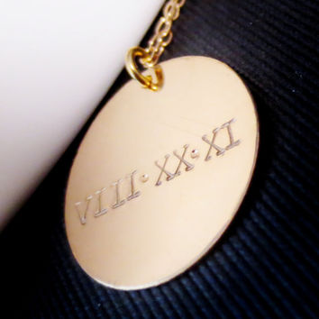 Personalized Gold Disc Roman Numeral Necklace, Handstamped Simple Jewelry, Wedding Date Anniversary, Valentines Mothers Day Gift Present