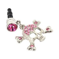 For Apple iPhone 4S 4 Galaxy S Cell Phones & MP3s Silver Skull Pink Gems Universal 3.5mm Headphone