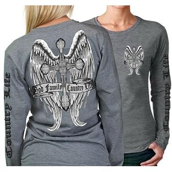 Country Life Outfitters Wings Cross God Faith Family Vintage Gray Long Sleeve Bright T Shirt