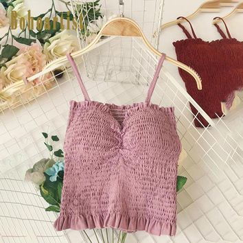 Women Summer Sweet Tank Top Slim Summer Elastic Sexy Cropped Tops Sleeveless Pleated Bustier Padded Casual Short Cami Vest Tops