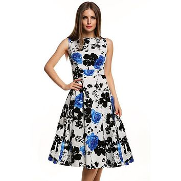 Floral Swing Summer Dress Black and Blue Roses