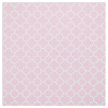 Pastel Pink and White Quatrefoil Pattern Fabric
